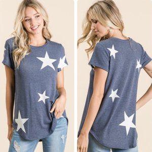 Denim Blue Top w/White Stars by Bombom